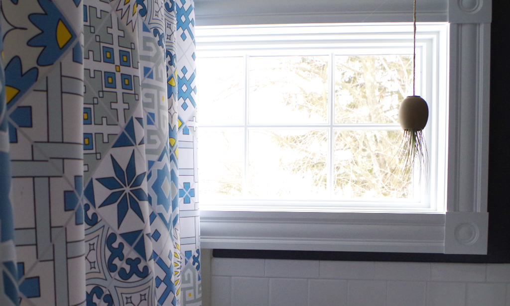 Bathroom - Mexican tile inspired shower curtain and a hanging air plant - Plaster & Disaster