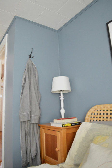 Install a hook for a robe next to the bed -- Plaster & Disaster