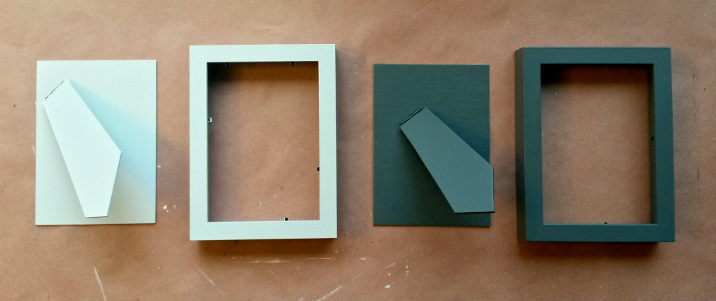 quick and cheap ikea ribba frame update using paint samples painters tape and polycrylic