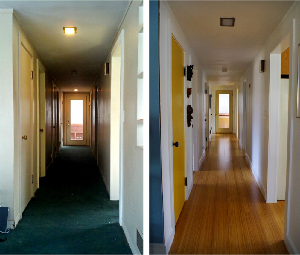 Renovation for open space and light - Hallway upgrade before and after - Plaster & Disaster