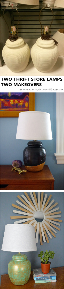 Two thrift store lamps - two makeovers - Plaster & Disaster