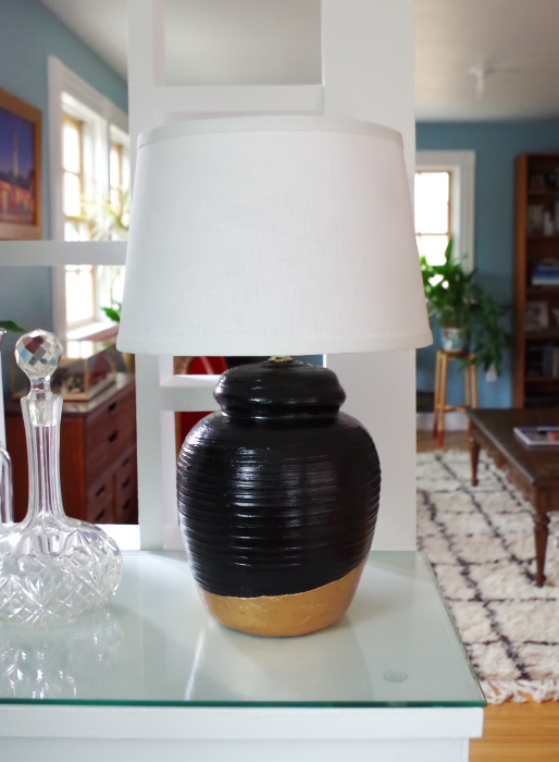 Thirft Store Lamp Makeover with Liquid Gold Leaf - Plaster & Disaster