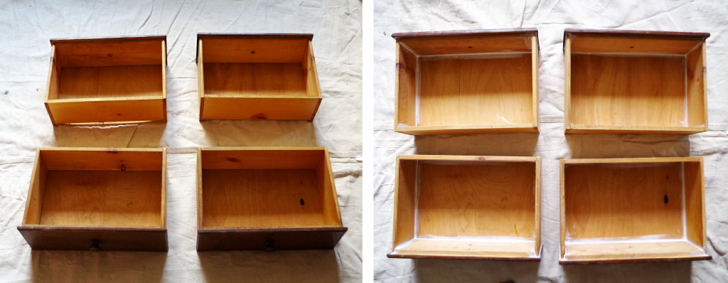 Furniture Makeover - Drawers Before to Caulked and Sanded - Plaster & Disaster