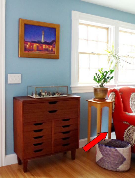 Wall Grate Disaster Confessional - Small Chest of Drawers and Provincetown Painting - Plaster & Disaster