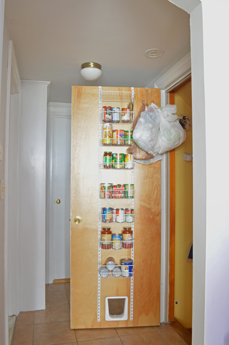 Store cans on back of basement door -- Plaster & Disaster