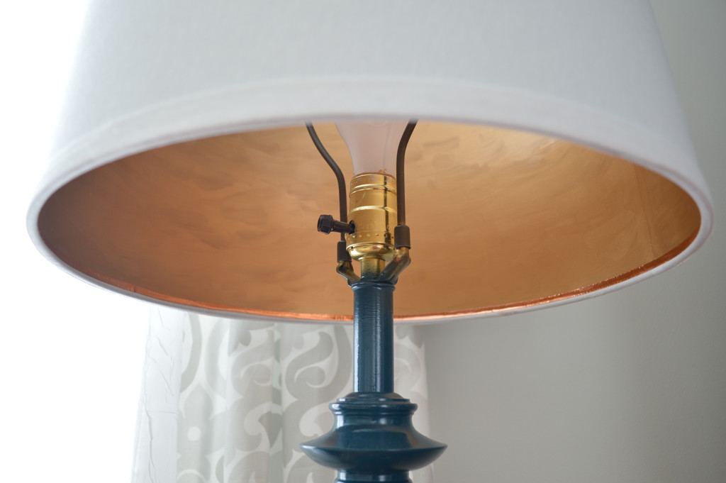 Adding interest to a lampshade with gold leaf paint -- Plaster & Disaster