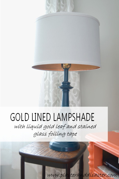 Lampshade Decorating - Gold Lined Lampshade - Plaster & Disaster