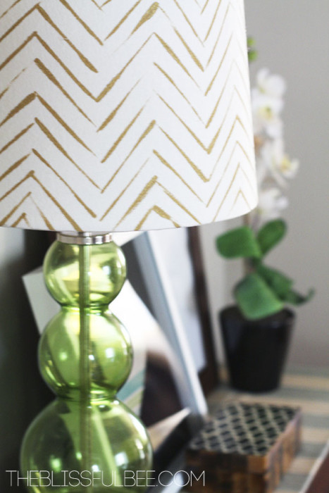 Lampshade Decorating - Organic chevron pattern with gold craft paint found on theblissfulbee.com - Plaster & Disaster
