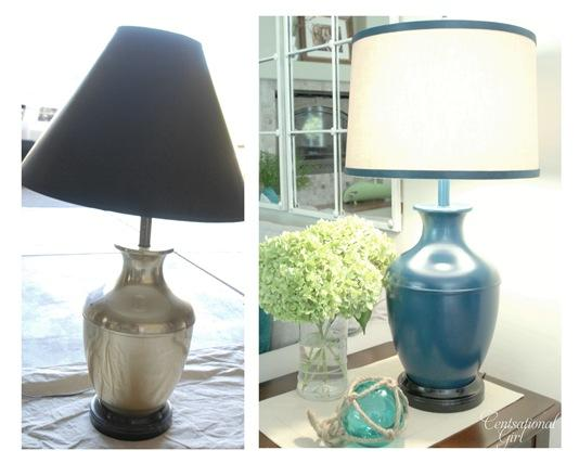 Spray painting ribbon to match lamp -- Plaster & Disaster