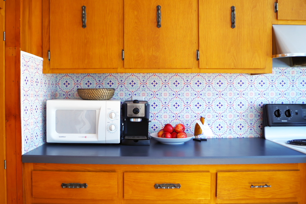 temporary backsplash using renters wallpaper  plaster  disaster,Temporary Kitchen Backsplash,Kitchen ideas