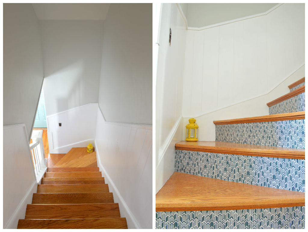 Transforming stairwell with fabric and paint -- Plaster & Disaster