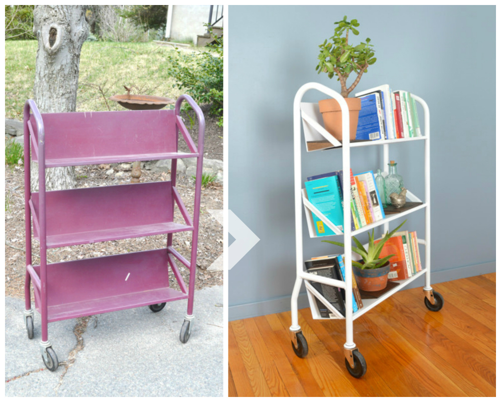 Salvaged library cart makeover with wooden plant shelves - Plaster & Disaster