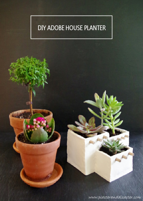 Adobe House Planter out of Oven Bake Clay - Includes a free template! - Plaster & Disaster