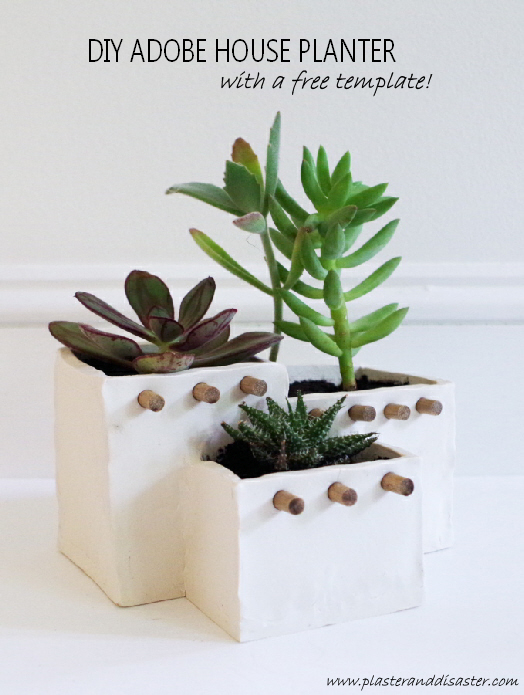DIY Adobe House Planter out of Oven Bake Clay - Includes a free template! - Plaster & Disaster
