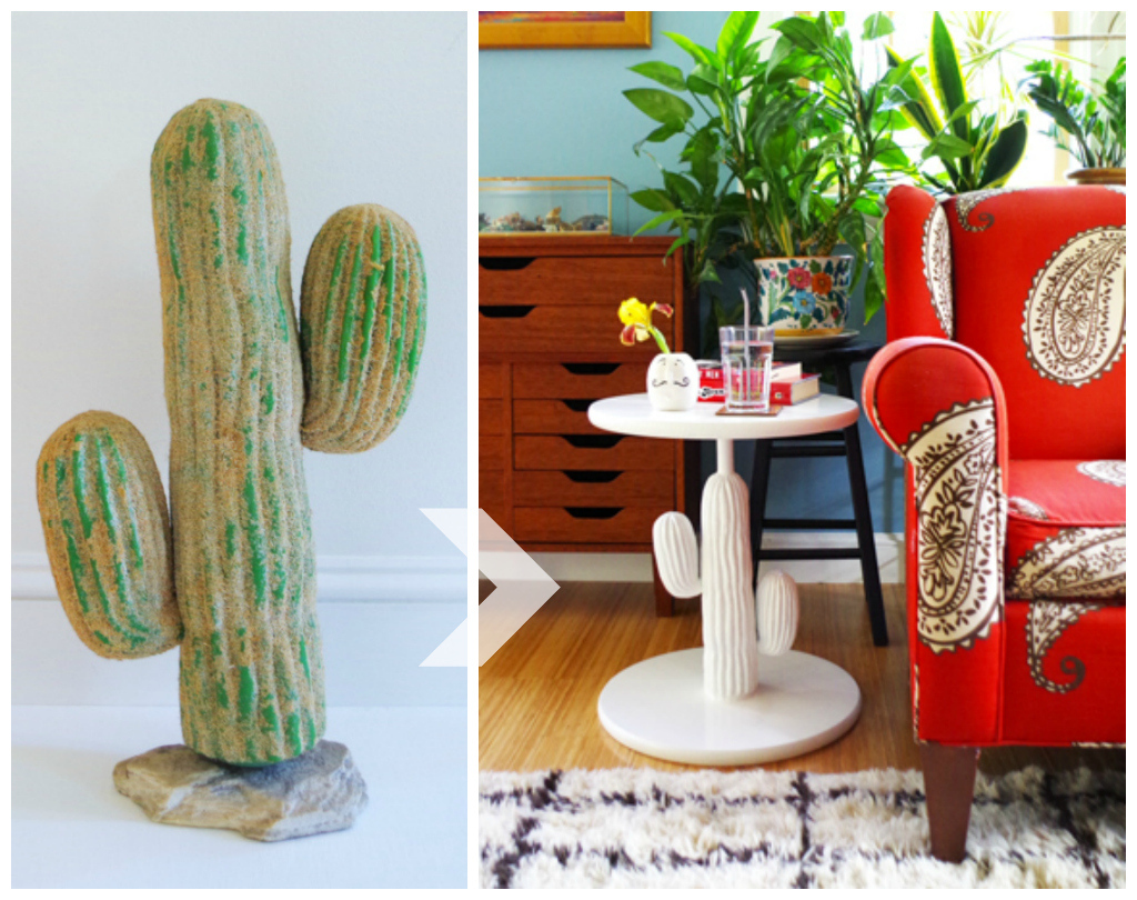Transforming a thrift store plastic cactus into a quirky side table! - Plaster & Disaster