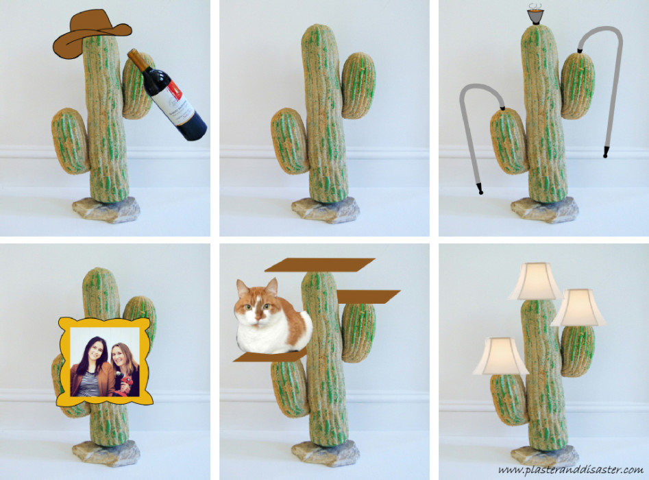 Turning a thrift store plastic cactus into a chic side table - brainstorming - Plaster & Disaster