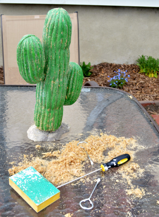 Turning a thrift store plastic cactus into a chic side table - sawdust free! - Plaster & Disaster