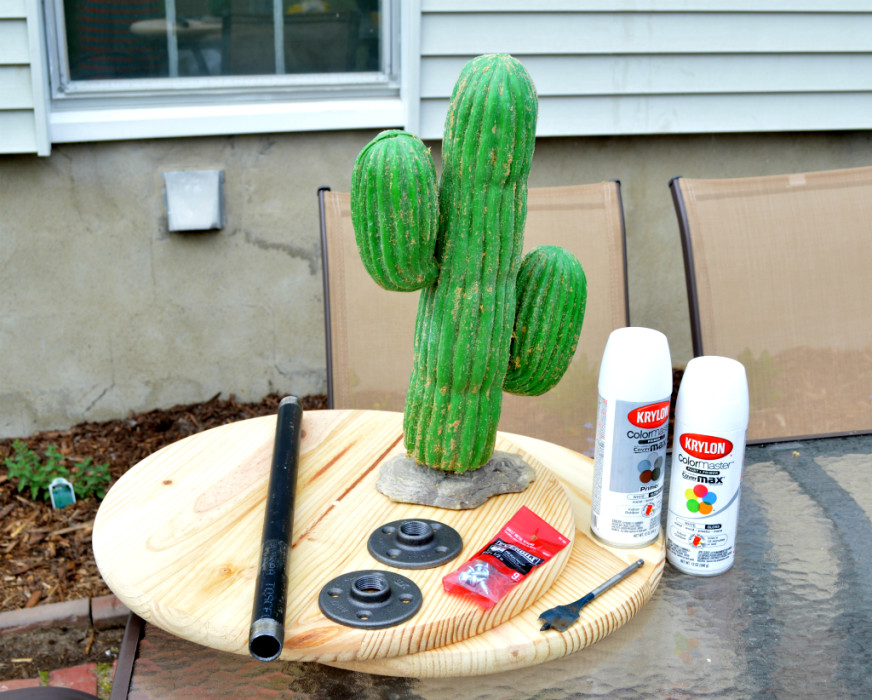Turning a thrift store plastic cactus into a chic side table - supplies - Plaster & Disaster