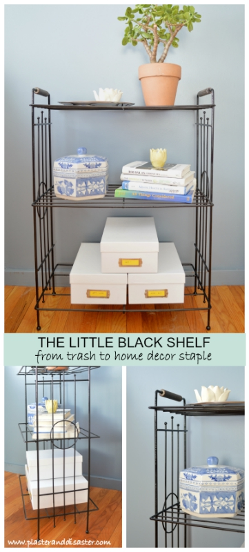 Glossy black metal shelf -- Plaster & DIsaster