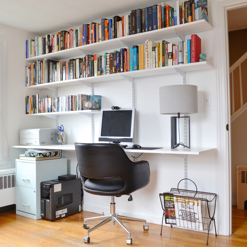 Progress in the study and how to build a hanging shelving Built in study desk
