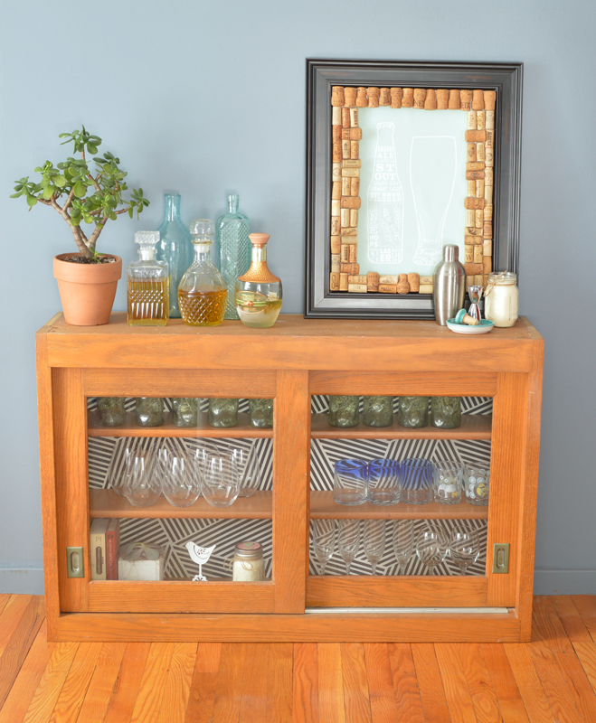 Salvaged cabinet makeover with fabric backing -- Plaster & Disaster