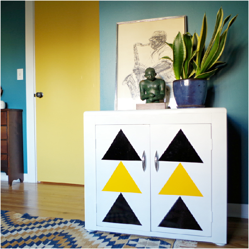 Graphic Cabinet Makeover with Adhesive Vinyl - Featured - Plaster & Disaster